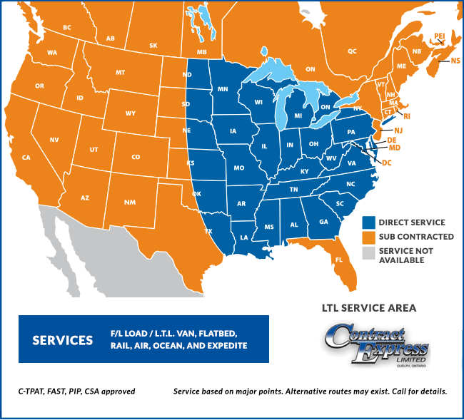 Contract Express Service Zone Map